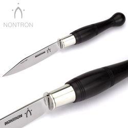 Nontron - Griff Ebenholz - Virole Klingenarretierung - XC75 Carbonstahl - 12 cm Messer – Bild 3