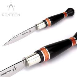 Nontron Messer - Ebenholz Neusilber Rosenholz - Virole - 12 cm - XC75 Carbonstahl – Bild 3