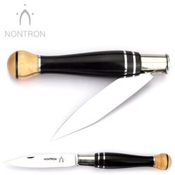Nontron Messer - Ebenholz Neusilber Buchsbaum - Klingenfixierung - 12 cm - XC75 Carbonstahl – Bild 2