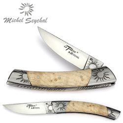 Michel Seychal Thiers BELEN - Griff helle Esche - 12 cm Taschenmesser 001