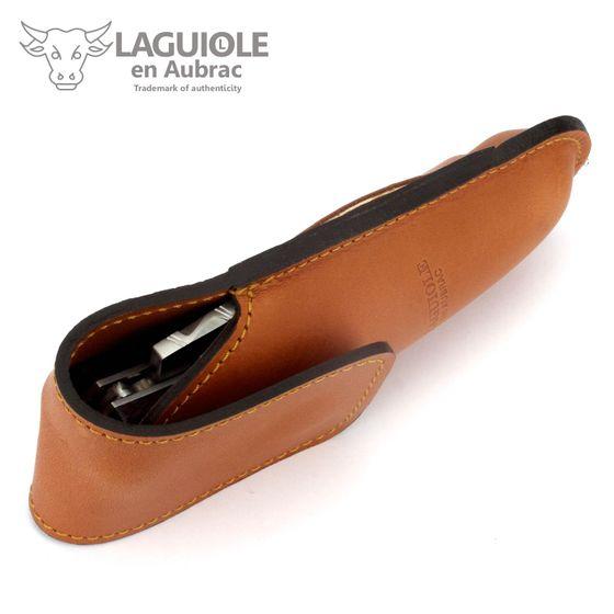 Laguiole en Aubrac Gürteletui - braunes Leder - für Jagd-Taschenmesser – Bild 4