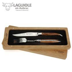 Laguiole en Aubrac - Griff Weinrebe - Set 1 Steakmesser + 1 Gabel – Bild 1
