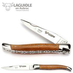 Laguiole en Aubrac - Platane - Doppelplatine - 12 cm Taschenmesser - Stahl glänzend 001
