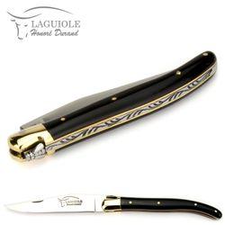 Laguiole Honoré Durand - Griff Horn schwarz - 11 cm Taschenmesser - Backen Messing – Bild 5
