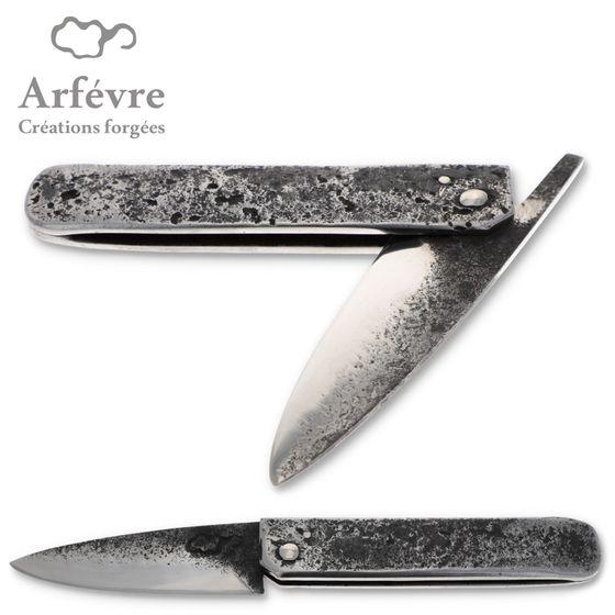 Arfévre - Taschenmesser - Stahlgriff - Brut de Forge Klinge - Roh handgeschmiedet – Bild 2