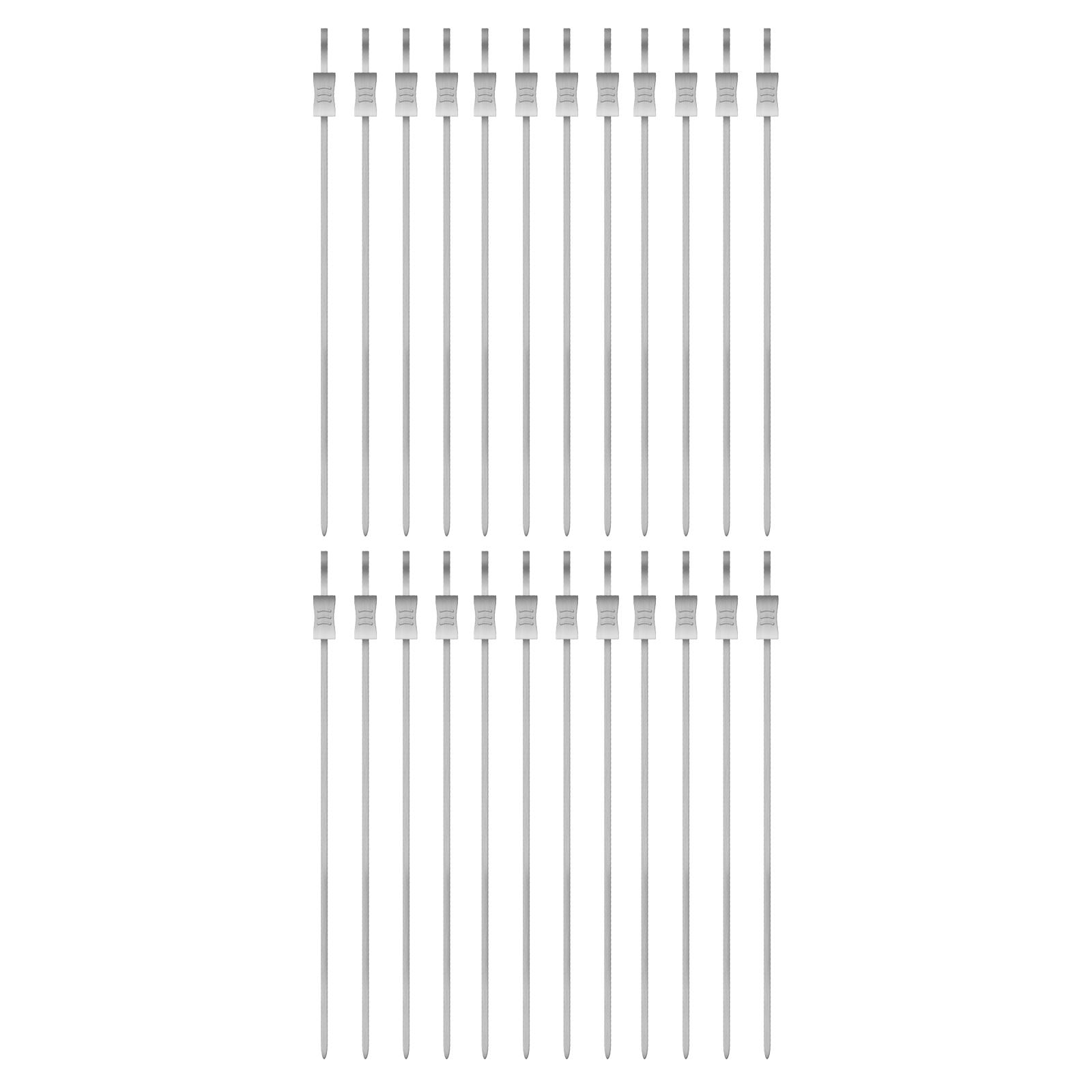 12 Edelstahl Grillspieße 41 cm mit Schieber Fleischspieß Schaschlikspieße Spieße