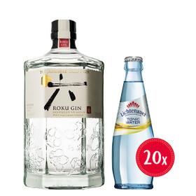 GIN-TONIC-PAKET Roku Gin 0,7L 43% vol + Lichtenauer Tonic 20x0,25L