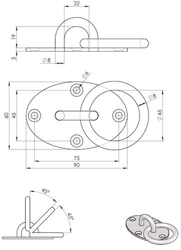 eaglefit® Deckenbefestigung OVAL mit Schrauben & Dübel aus Edelstahl – Bild 3