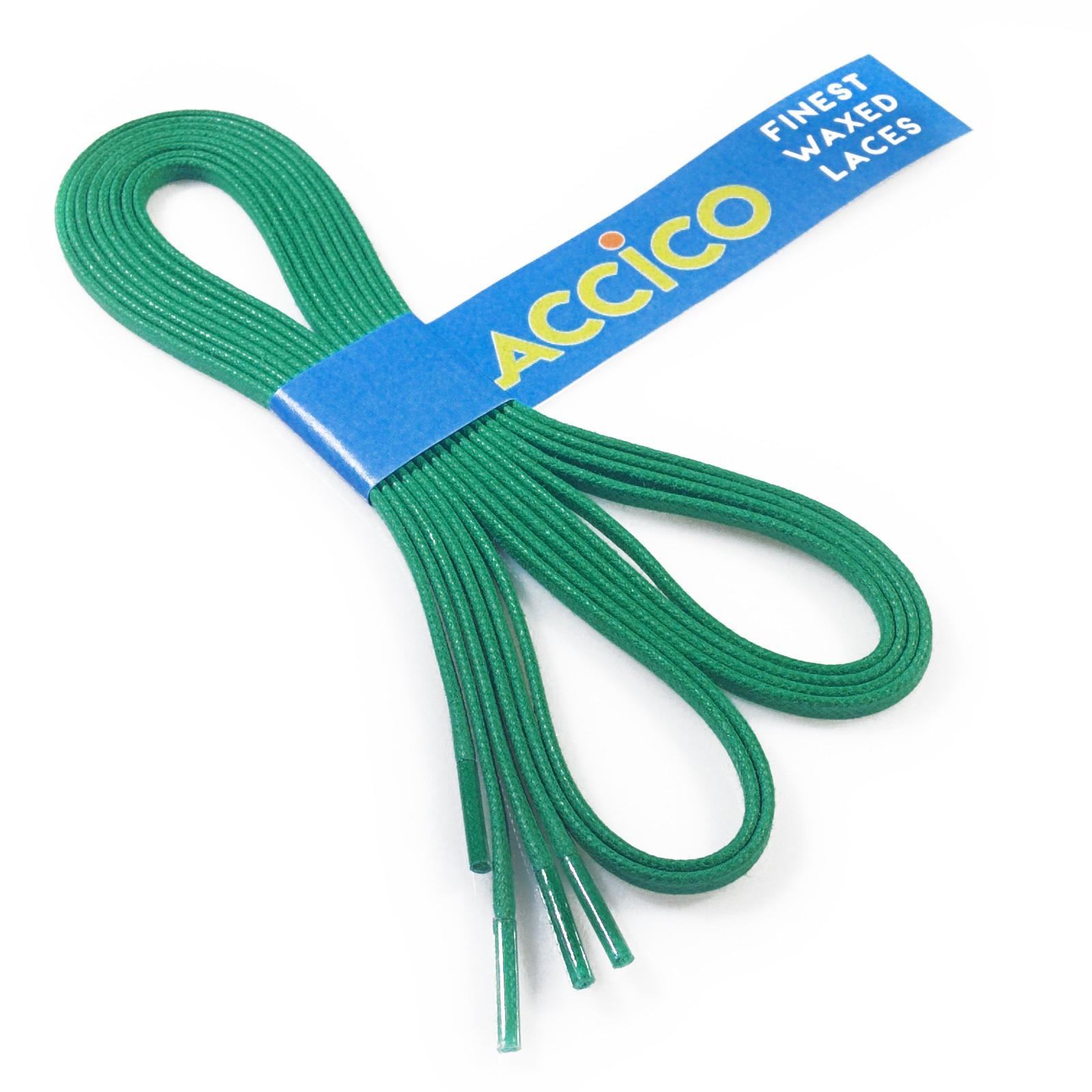 GREEN Flat Waxed Shoelaces width 3 mm