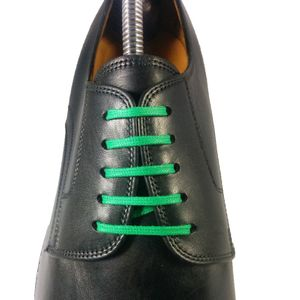 GREEN Flat Waxed Shoelaces width 3 mm – image 3