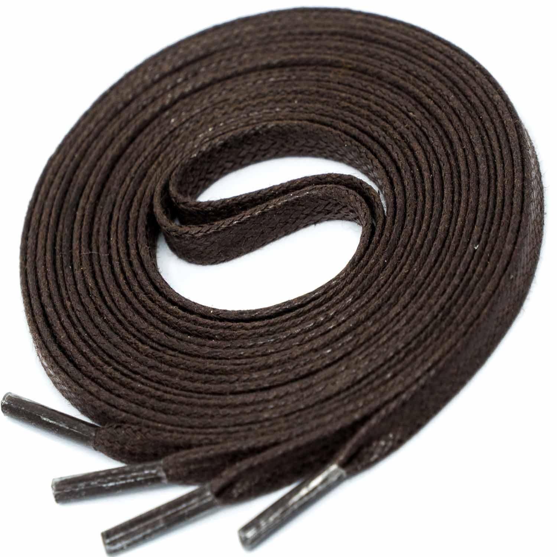 DARK BROWN Flat Waxed Shoelaces width 4 mm