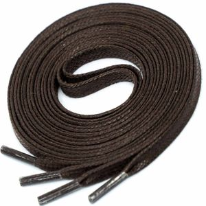 DARK BROWN Flat Waxed Shoelaces width 4 mm