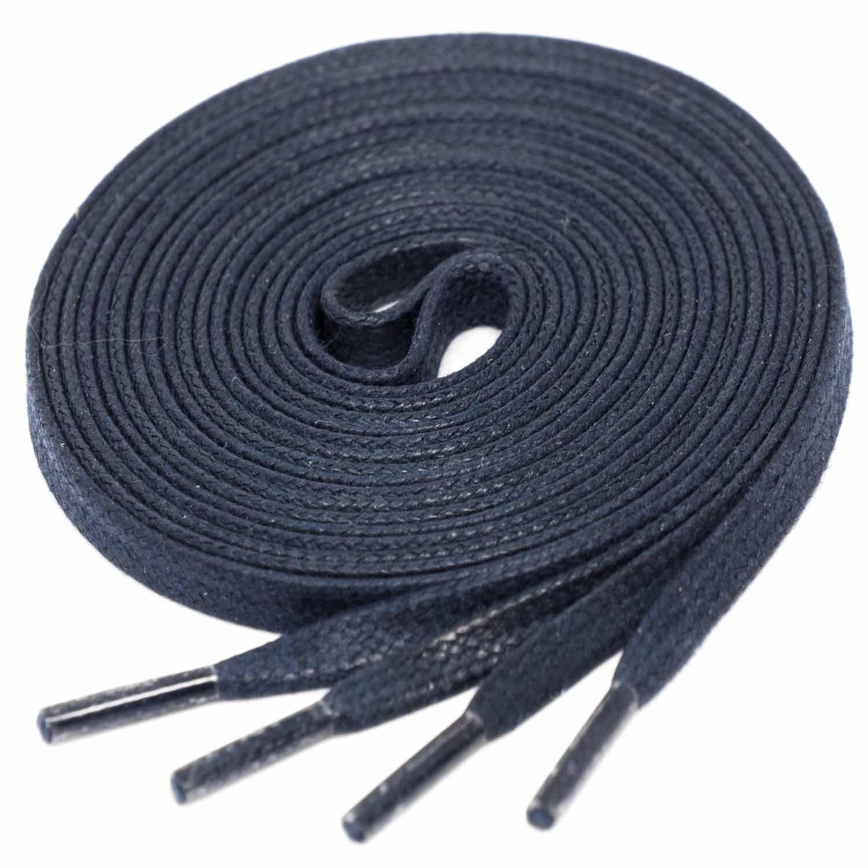 DARK BLUE Flat Waxed Shoelaces width 4 mm