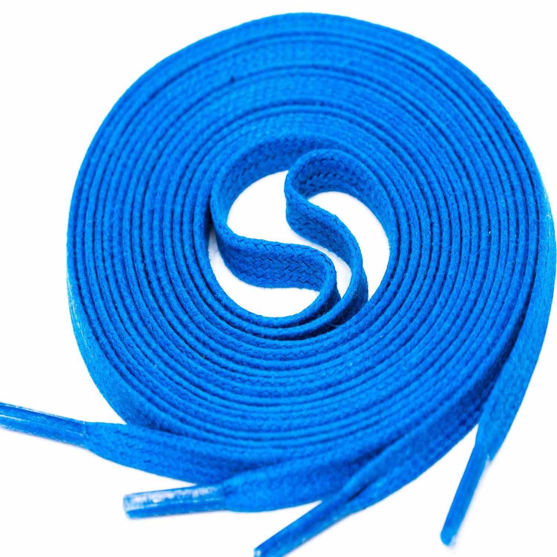 BLUE Flat Waxed Shoelaces width 4 mm