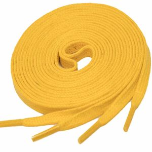 YELLOW Flat Waxed Shoelaces width 4 mm