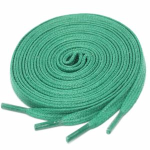 GREEN Flat Waxed Shoelaces width 4 mm