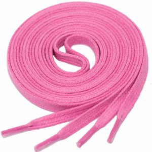 PINK Flat Waxed Shoelaces width 4 mm