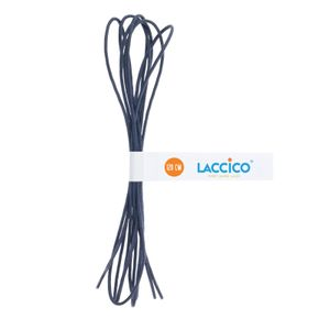 BLUE GREY Thin Elegant Round Waxed Shoelaces Diameter 2 mm  – image 3