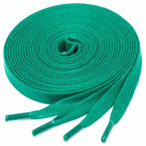 GREEN flat waxed shoelaces width 6 MM
