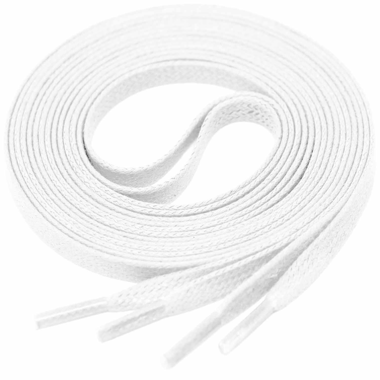 WHITE Flat Waxed Shoelaces width 4 mm