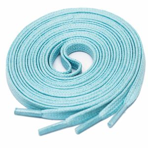 LIGHT BLUE Flat Waxed Shoelaces width 4 mm