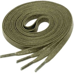 KAKI GREEN Flat Waxed Shoelaces width 4 mm