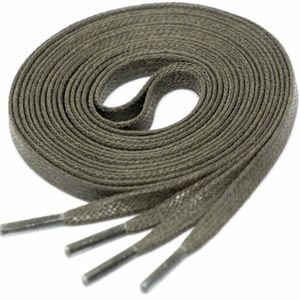 OLIVE GREEN Flat Waxed Shoelaces width 4 mm