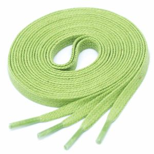 LIGHT GREEN Flat Waxed Shoelaces width 4 mm
