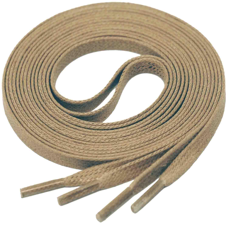 DARK BEIGE Flat Waxed Shoelaces width 4 mm