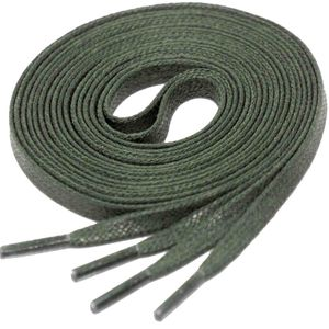 MILITARY GREEN Flat Waxed Shoelaces width 4 mm