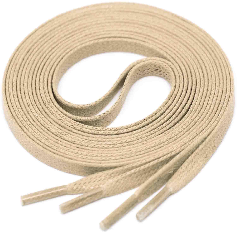 GREIGE Flat Waxed Shoelaces width 4 mm