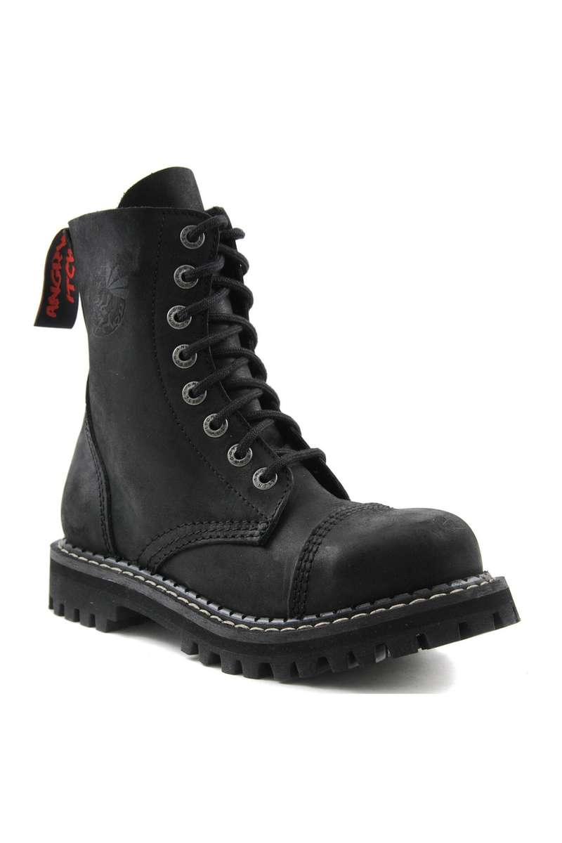 Angry Itch - 8-Hole Ranger Boots matt leather black