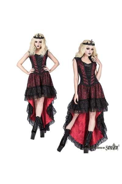 sinister - Ärmelloses gothic-kleid mit spitze