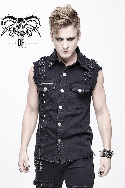 Devil Fashion - Weste mit Nieten im Used-Look WT045