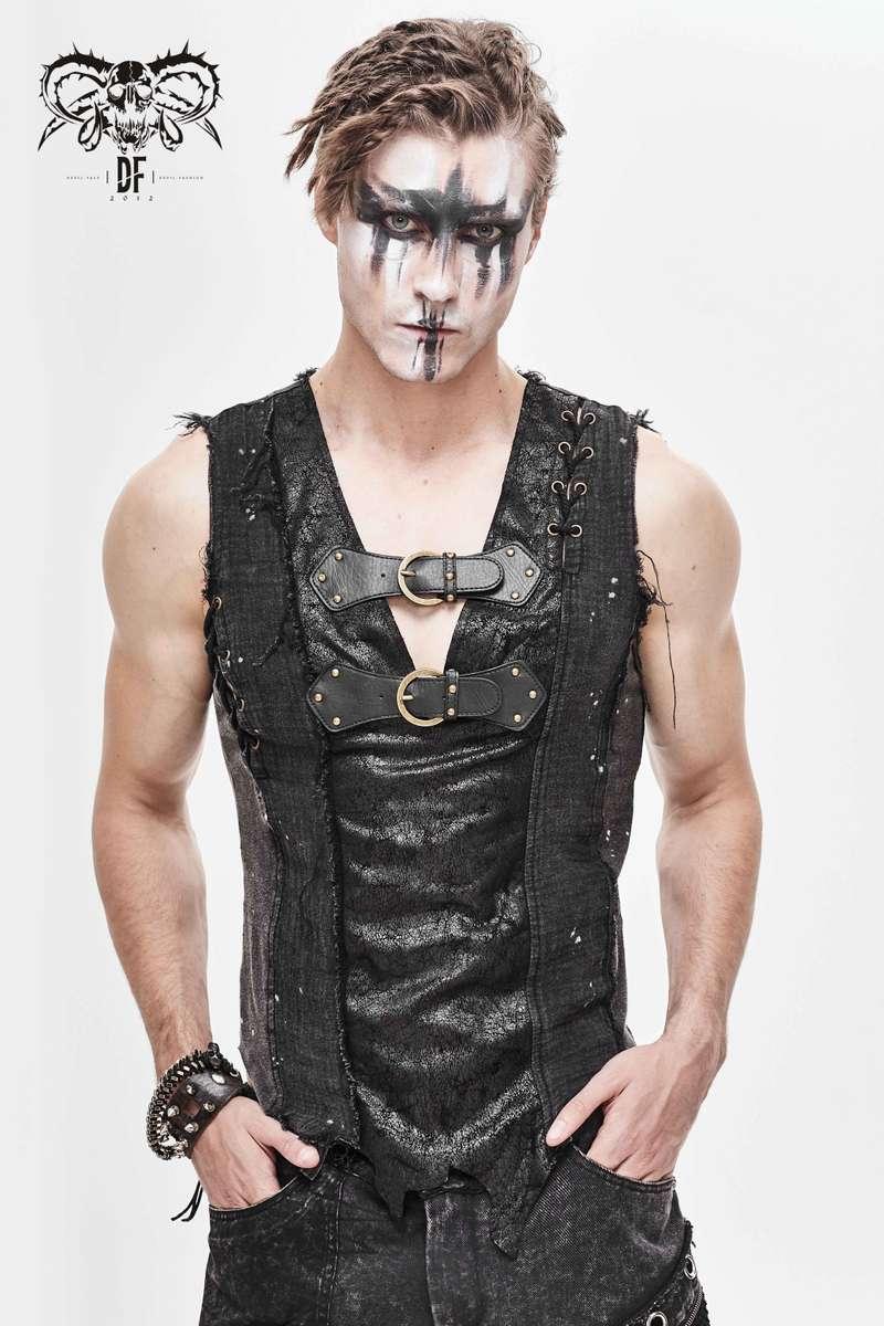Devil Fashion - Asymmetrical Dieselpunk Vest With Buckles TT127