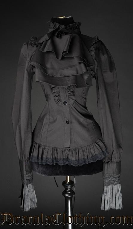 Dracula Clothing - Black Ruffle Blouse