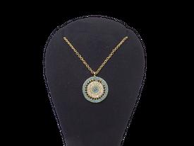 Halskette 'Böser Blick' - blaues Auge, türkisfarbene Blume – Bild 4