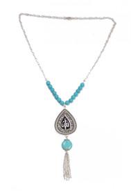 Ethno Statement Lange Halskette mit grossem Anhänger 'Tropfen' - türkis-blaue Perlen, silberfarben – Bild 1