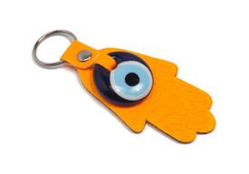 Schlüsselanhänger - Böser Blick Nazar Boncuk Evil Eye - Glücksbringer Fatimas Hand Buddha Hamsa - Orange