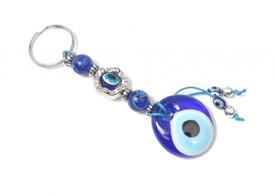 Schlüsselanhänger - Böser Blick Nazar Boncuk Evil Eye - Silber blau Farben
