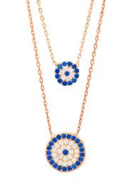 925 Sterling Silber Zweilagige Halskette Blaues Auge Zirkonia Steinchen - Rosegold