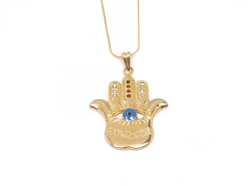 Remi Bijou - Necklace with Pendant 'Hand of Fatima' Hamsa with Evil Eye - 18K Gold