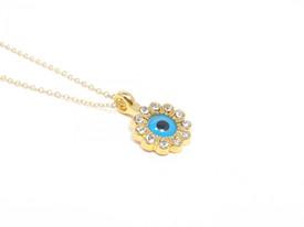 Halskette 'Böser Blick' - Blume - goldfarben – Bild 2