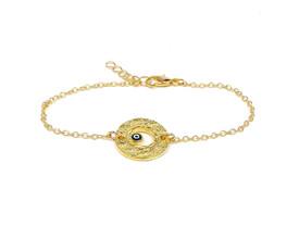 Remi Bijou - Elegante Armkette Armband -  Kreis mit dem Auge Evil Eye - Gold Farbe