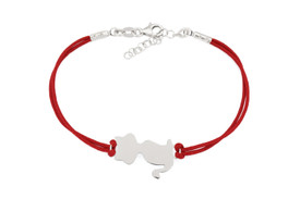 925 Sterling Silber - Elegante Armkette Armband für Katzenliebhaber - Rote Schnur -  Katze Katzenliebhaber – Bild 1
