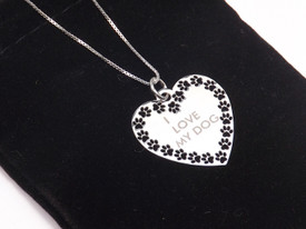 925 Sterling Silber - Elegante Halskette 'I Love My Dog'   – Bild 1