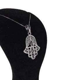 Halskette - Fatimas Hand Hamsa - Silber Farbe – Bild 2