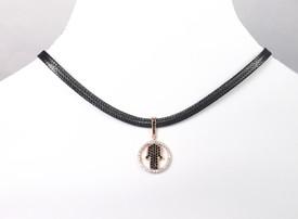 Halskette Choker Schwarz Fatimas Hand Hamsa Rosegold Farbe – Bild 3