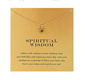 Halskette 'Spirutal Wisdom' Davidstern Kaballah Jüdischer Talisman Gold Farbe - mit der Geschenkkarte
