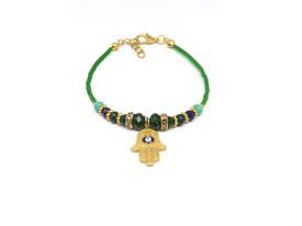 Remi Bijou - Ethnische Armkette mit Beads Perlen 'Fatimas Hand' mit Blauem Auge – Bild 2